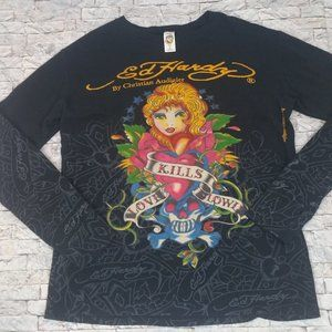 Vintage Ed Hardy Long Sleeve Thermal Shirt Size L